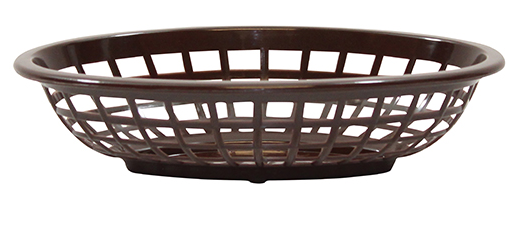 "TableCraft Products 1071BR Side Order Basket, 8"" x 5-3/8"" x 2"", oval, polyethylene, brown, Made in USA"