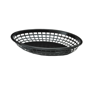 "TableCraft Products 1084BK Oval Jumbo Basket, 11-3/4"" x 8-7/8"" x 1-7/8"", Black"