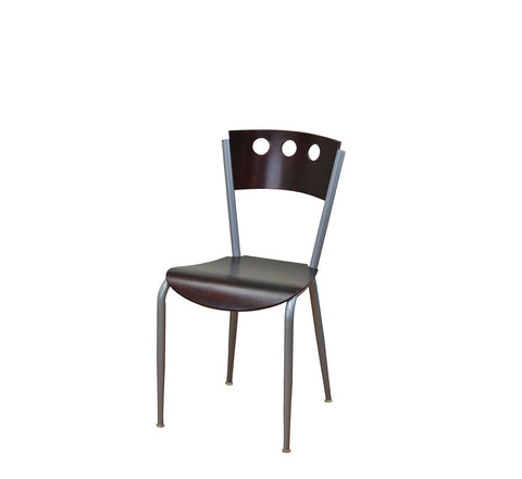 DHC 1253-MAH Silver Finish, Steel Dining Chair, Mahogany Seat & Back