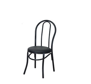 DHC 1263-BLK Textured Black Powder Coated Steel Dining Chair, Black Vinyl Seat