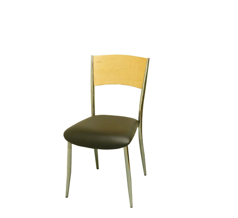 DHC 1267-NAT Chrome Finish, Steel Cafe Chair, Natural Wood Back & Black Vinyl Seat