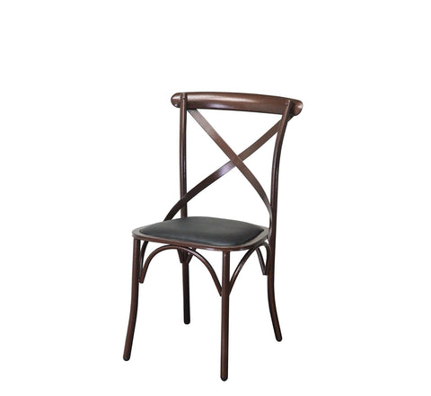 DHC 1268-BLK Copper Vein Finish, Steel Dining Chair, Black Vinyl Cushion