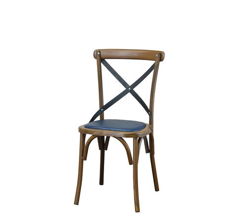 DHC 1268-BLUE Wood Grain / Walnut Finish Steel Dining Chair, Blue Vinyl Cushion