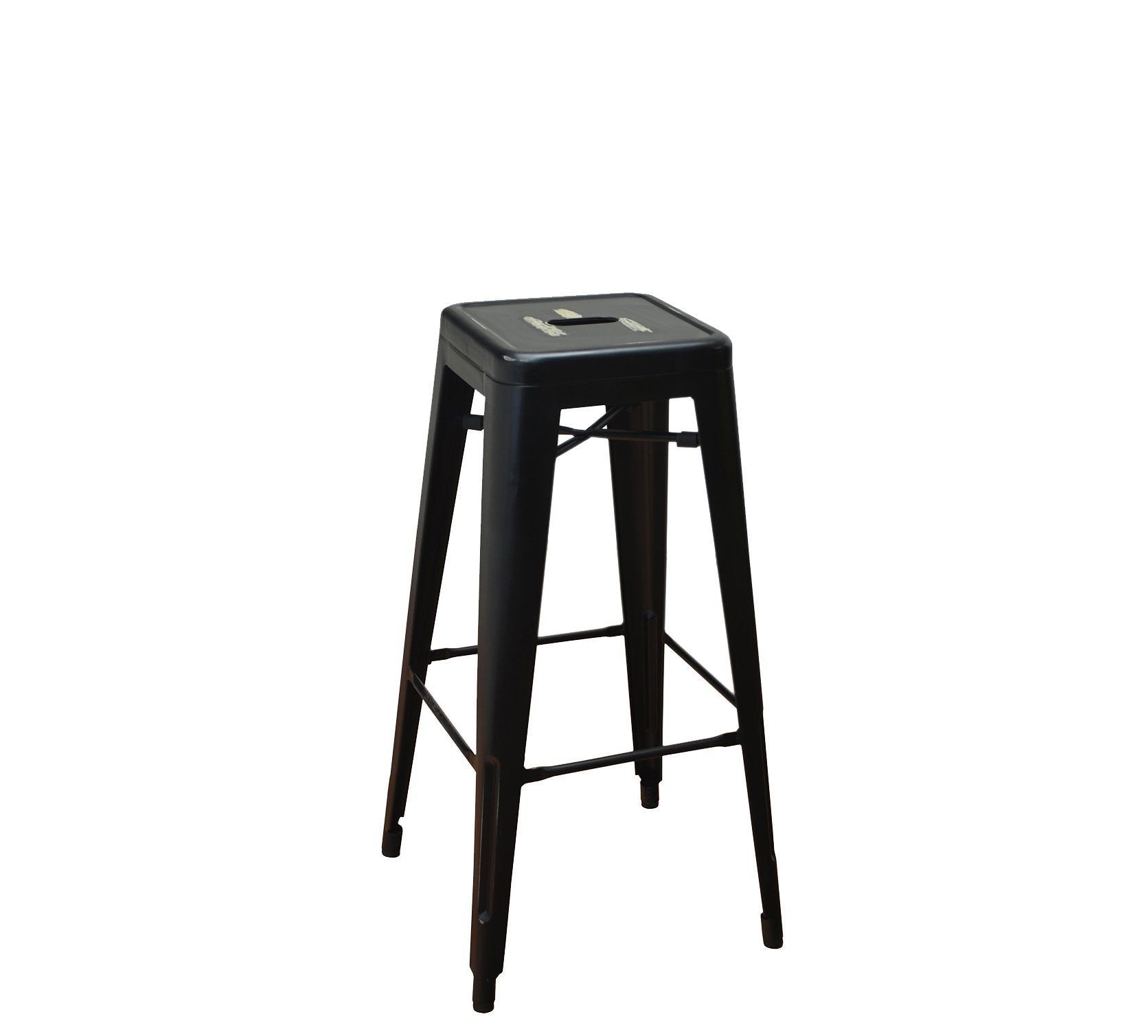 DHC 1281B-BLK Backless Tolix Stool, Antique Black Powder Coating