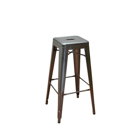 DHC 1281B-SIL Stack Backless Steel Tolix Stool, Silver