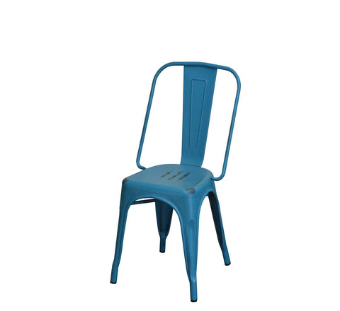 DHC 1282-BLUE Stack Steel Tolix Chair, Antique Blue Finish