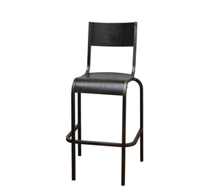 DHC 1284B Antique Black Finish, Stackable Stool, Wood Seat and Back
