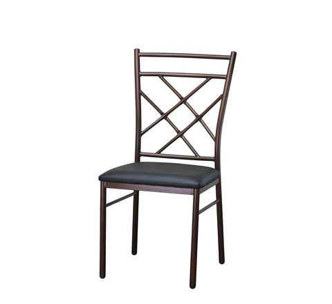 DHC 1290 Copper Finish, Steel Dining Chair, Black Vinyl Seat