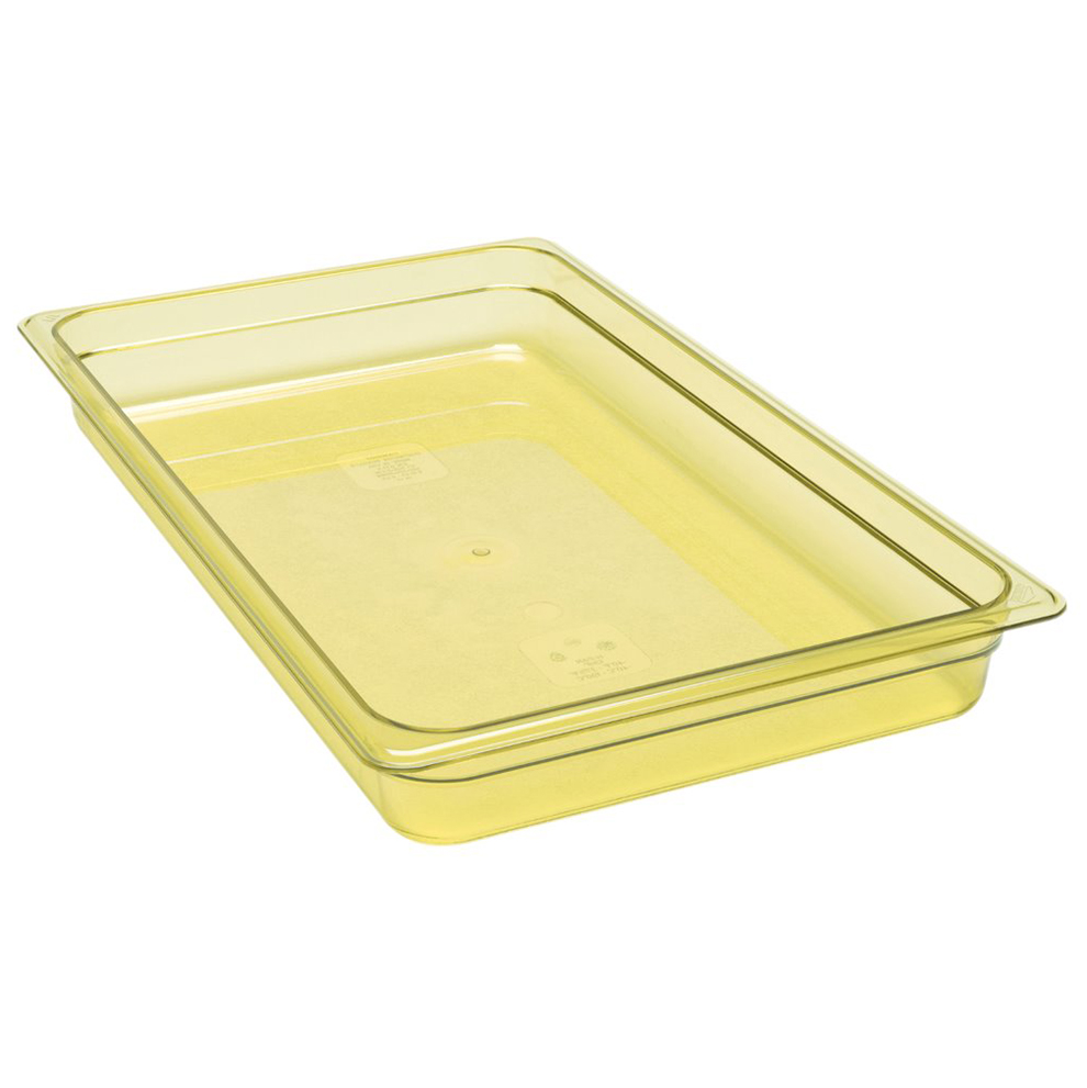 Cambro 12HP150 H-Pan High Heat Hot Food Pan, full size, 2-1/2 deep, hi-temp plastic, -40F to 375F, non-stick surface, wont bend or dent, amber, NSF
