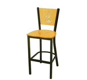 DHC 1436B-D07 Steel Barstool, Natural Color Laminated Back & Seat