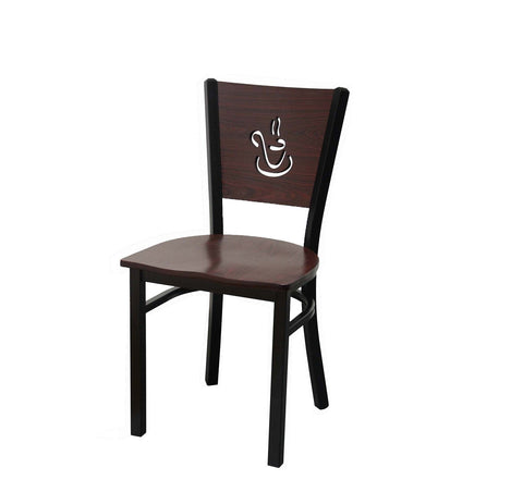 DHC 1436-D02 Natural & Mahogany Color Steel Dining Chair