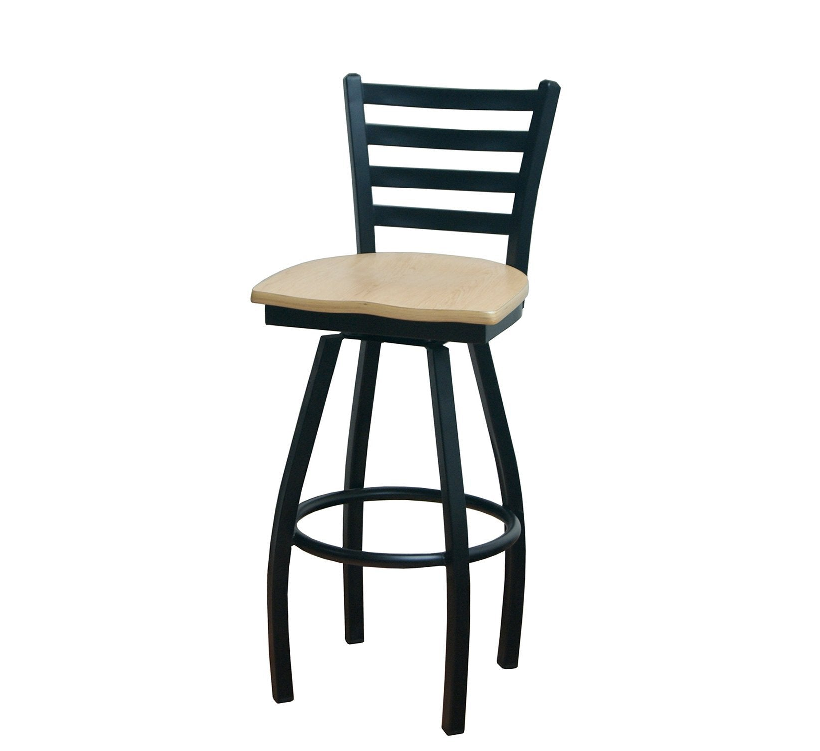 DHC 1445B-SW Ladder Back Steel Swivel Barstool, Matt Black Finish