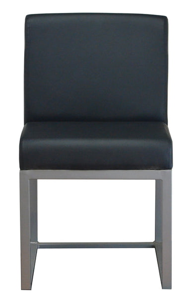 DHC 1550 Silver Powder Coated, Steel Dining Chair, Upholstered Back