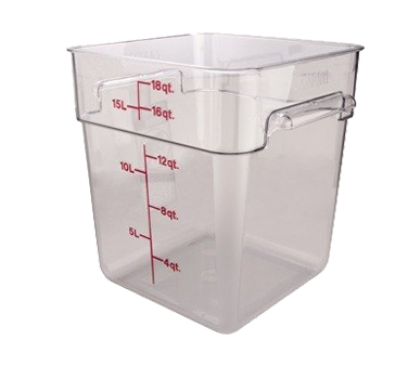 Cambro 18SFSCW135 CamSquare 18 Qt. Polycarbonate Food Container, Clear, NSF