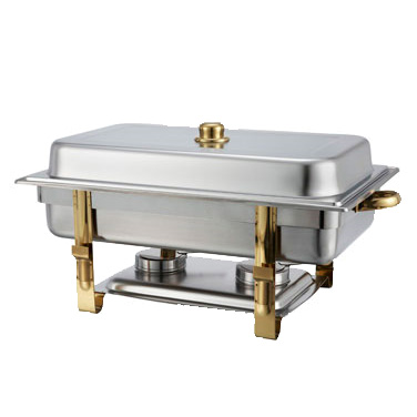 Winco 201 Malibu Chafer, 8 quart, full size, rectangular, clip on cover, gold accents, includes food pan, water pan, and fuel holders