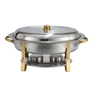 Winco 202 Malibu Chafer, 6 quart, oval, stainless steel, gold accents, includes food pan, water pan, and fuel holders