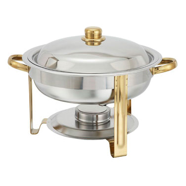 Winco 203 Malibu Chafer, 4 qt., round, stainless steel, gold accents, includes food pan, water pan, and fuel holder