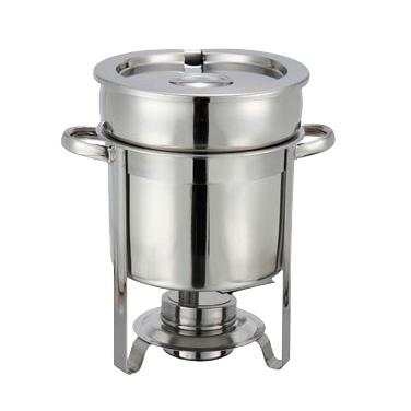 Winco 207 Soup Warmer, 7 qt., with cover, water pan, frame and fuel holder, stainless steel