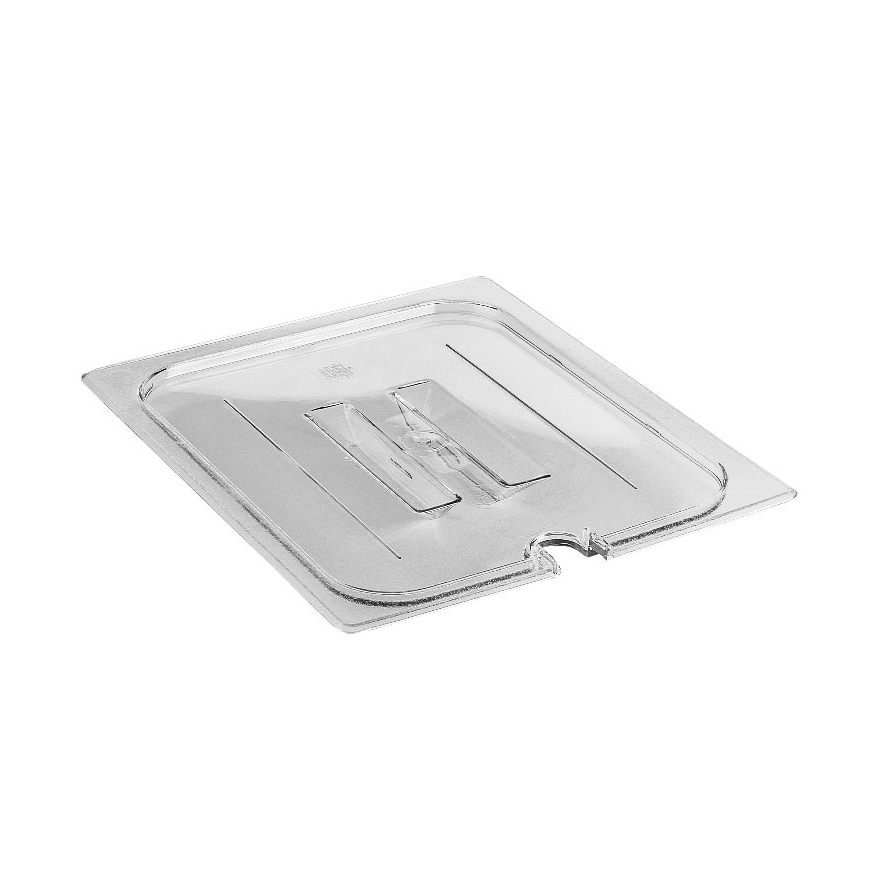 Cambro 20CWCHN135 Camwear Food Pan Cover, 1/2 size, notched, with handle, polycarbonate, clear, NSF