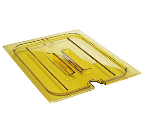 Cambro 20HPCHN150 H-Pan Cover, 1/2 size, high heat, notched, with handle, -40F to 300F, non-stick surface, wont bend or dent, amber, NSF