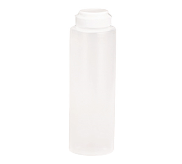 TableCraft Products 2108C-1 Squeeze Bottle, 8 oz., 38mm opening, white hinged top, soft polyethylene PerfectFlex™, clear, Made in USA