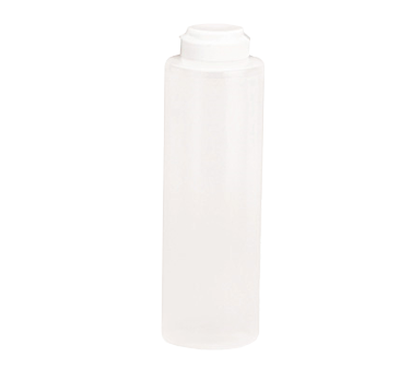 TableCraft Products 2112C-1 Squeeze Bottle, 12 oz., 38mm opening, white hinged top, soft polyethylene PerfectFlex™, clear, Made in USA
