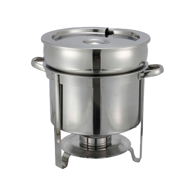 Winco 211 Soup Warmer, 11 qt., round, with cover, water pan, frame and fuel holder, stainless steel