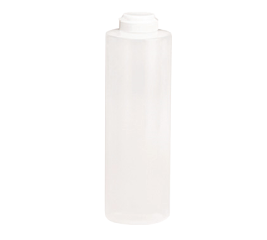TableCraft Products 2124C-1 Squeeze Bottle, 24 oz., 38mm opening, white hinged top, soft polyethylene PerfectFlex™, clear, Made in USA