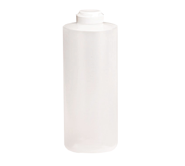 TableCraft Products 2132C Squeeze Bottle, 32 oz., 38mm opening, white hinged top, soft polyethylene PerfectFlex™, clear, Made in USA
