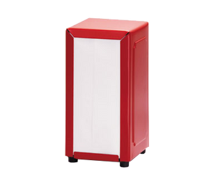 "TableCraft Products 2211 Napkin Dispenser, 4-3/4"" x 3-7/8"" x 7-1/2"", fits 3-3/8"" x 6-5/8"" napkins, full size, stainless steel, red"