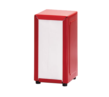 "TableCraft Products 2211 Full Size Napkin Dispenser (Fits 3-3/8"" x 6-5/8"" Napkins), Red"