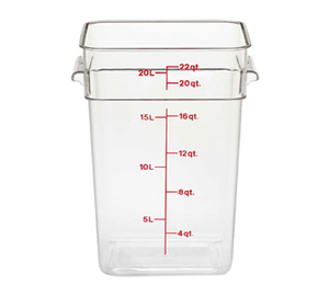 Cambro 22SFSCW135 CamSquare Food Container, 22 qt., 11-1/4L x 12-1/4W x 15-3/4H, with handles, red graduation, polycarbonate, dishwasher safe, resists stains & odors, clear, NSF