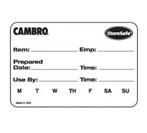 Cambro 23SL StoreSafe Food Rotation Label, 2 x 3, label & adhesive dissolves in less than 30 seconds, withstands high heat temp. up to 200 F 93 C for 4 hours, microwave safe, 100% biodegradable, white, FDA approved 100 labels per roll, 20 rolls per case