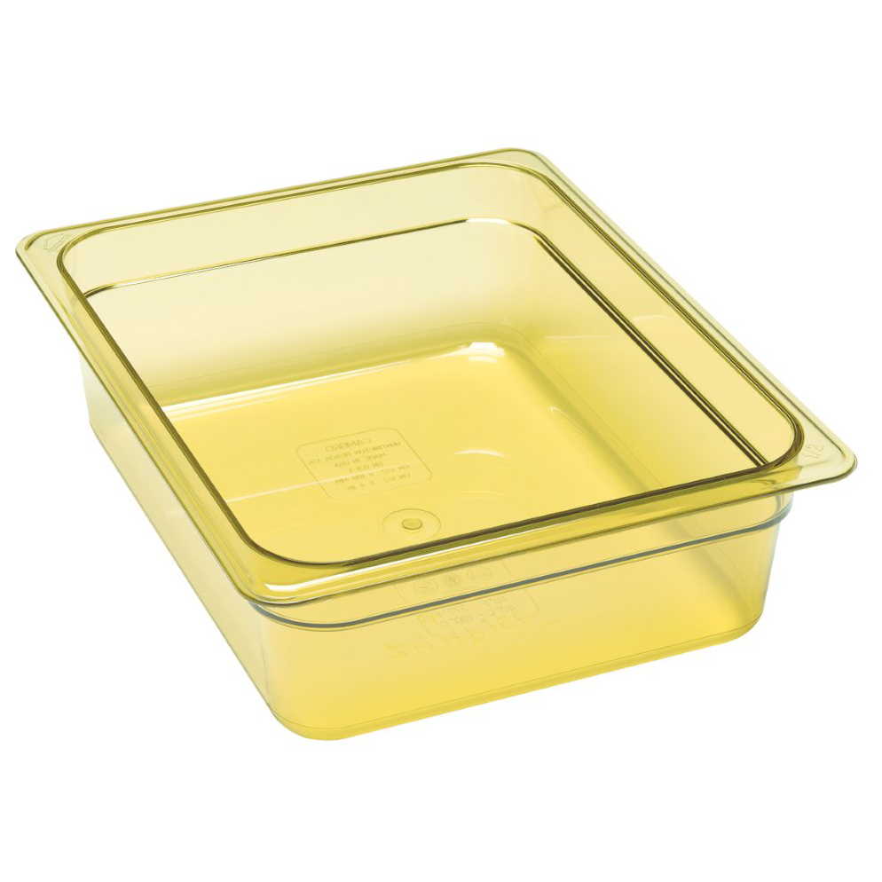 Cambro 24HP150 H-Pan High Heat Hot Food Pan, 1/2 size, 4 deep, hi-temp plastic, -40F to 375F, non-stick surface, wont bend or dent, amber, NSF