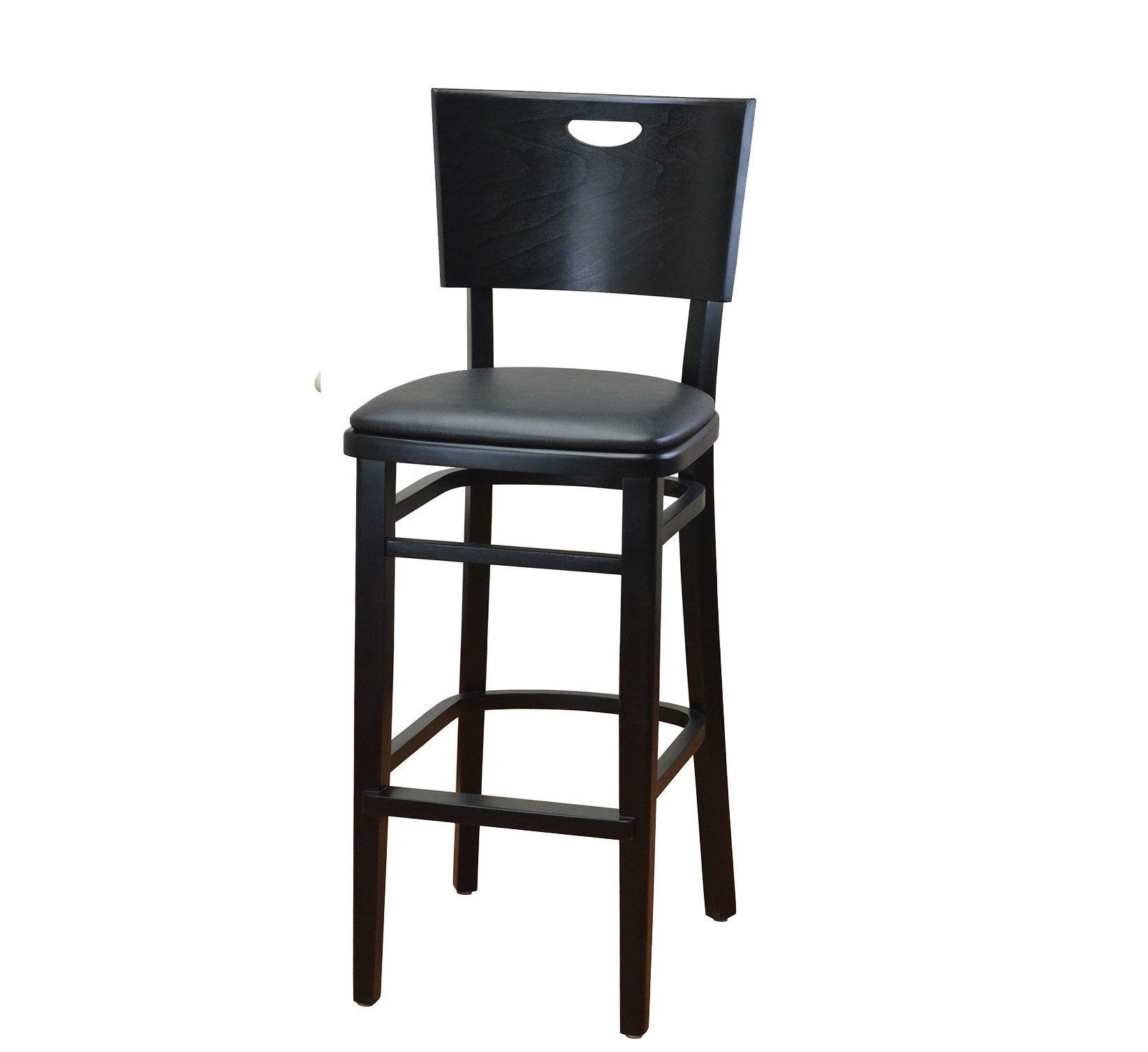 DHC 252B-BLK Black Finish Curved Back, Wood Barstool