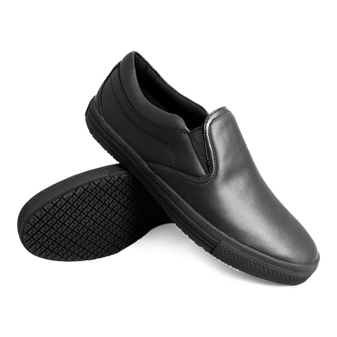 Genuine Grip 2060 Men's Retro Slip-On, Slip Resistant Work Shoes, Black