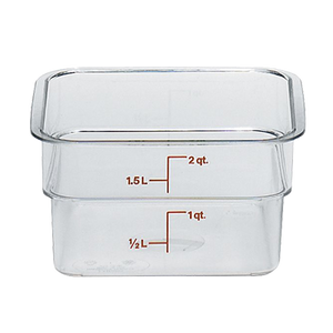 Cambro 2SFSCW135 CamSquare Food Container, 2 qt., 7-1/4L x 7-1/4W x 3-7/8H, red graduation, polycarbonate, dishwasher safe, resists stains & odors, clear, NSF