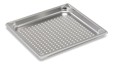 "Vollrath 30113 Super Pan V® Food Pan, perforated bottom, 2/3 size, 1-1/4"" deep, 22 gauge, 300 series stainless steel, NSF, Made in USA"