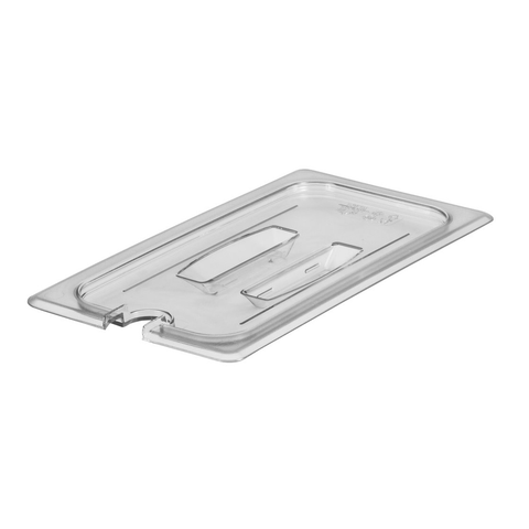 Cambro 30CWCHN135 Camwear Food Pan Cover, 1/3 size, notched, with handle, polycarbonate, clear, NSF