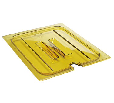 Cambro 30HPCHN150 H-Pan Cover, high heat, 1/3 size, notched, with handle, -40F to 300F, non-stick surface, wont bend or dent, amber, NSF