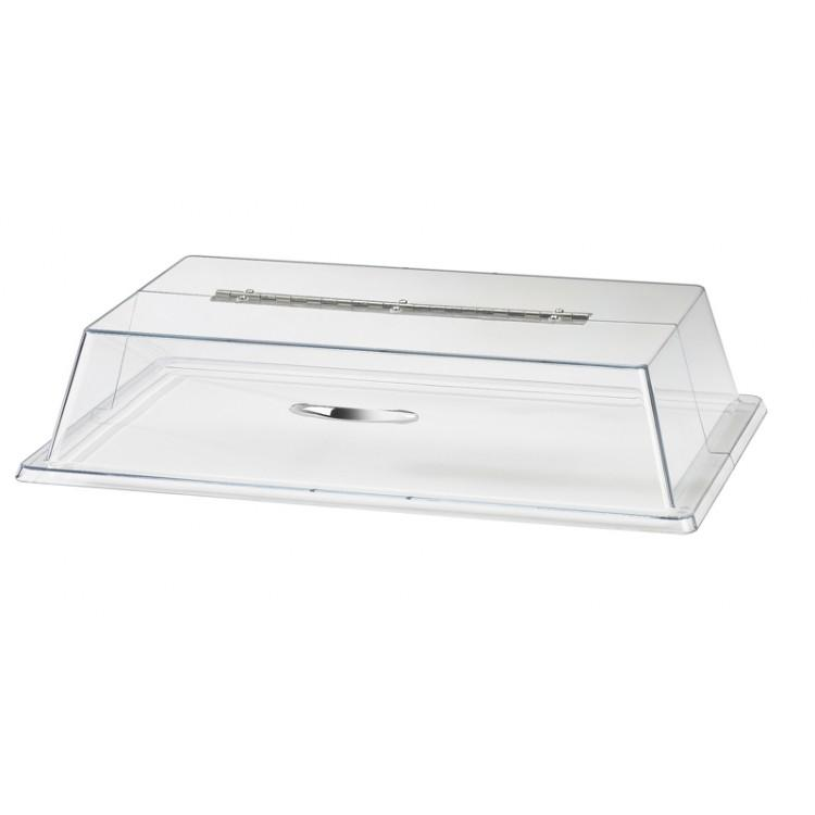 "Cal-Mil 329-12 Display Cover, 12"" W x 20"" D x 4"" H, rectangular, long hinge, flat top, polycarbonate, clear"