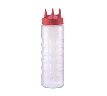 Vollrath 3324-1302 Tri Tip™ Squeeze Bottle - 24 Oz., Clear Bottle / Red Cap