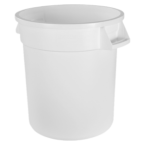 "Carlisle 34101002 Bronco™ Waste Container, 10 gallon, 17""H x 16-1/8"" dia., polyethylene, white, NSF"