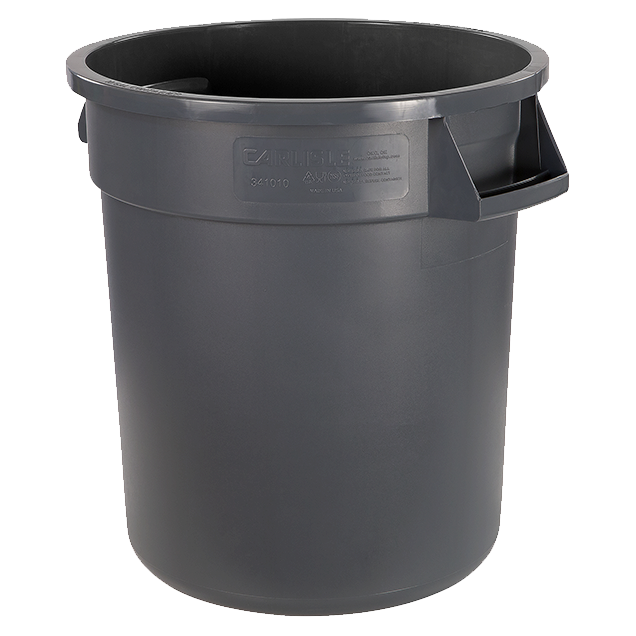 "Carlisle 34101023 Bronco™ Waste Container, 10 gallon, 17""H x 16-1/8"" dia., polyethylene, gray, NSF"