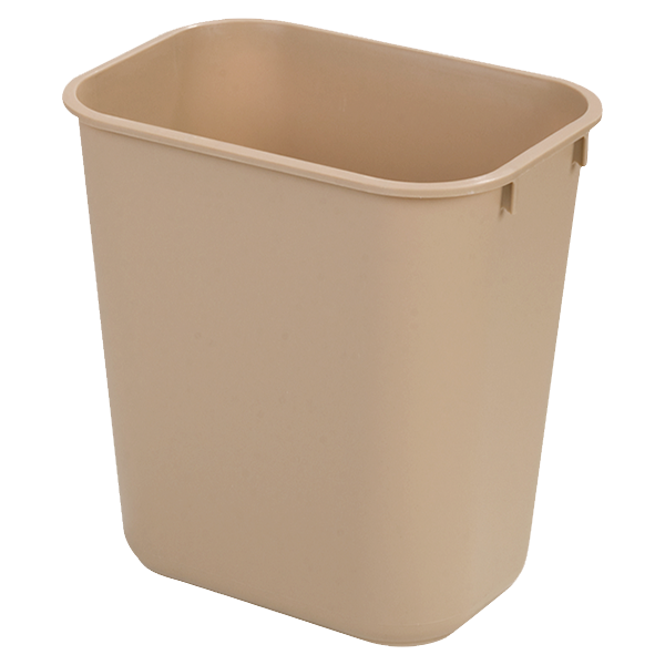 Carlisle 34292806 Office Wastebasket, 28 qt., rectangular, polypropylene, beige