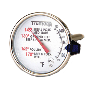 "Taylor 3504 Meat Thermometer, 2"" dial, 4-1/2"" stainless steel stem, 120° to 210°F"