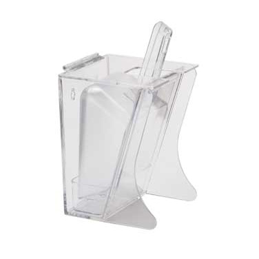 "Cal-Mil 355 Scoop Holder, 6"" W x 5 1/4"" D 11 1/2"" H, 32 oz scoop, hinged lid, drip tray, freestanding, polycarbonate, clear, NSF"