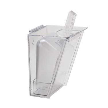 "Cal-Mil 356 Scoop Holder, 6""W x 5 1/4"" D x 11 1/2"" H, 32 oz scoop, hinged lid, drip tray, wall mount, polycarbonate, clear, NSF"