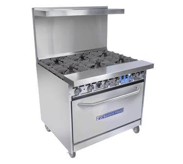 "Bakers Pride 36-BP-6B-S30 Restaurant Series Range, gas, 36"", (6) 40,000 BTU burners, 30"" standard oven, 280,000 Total BTU"