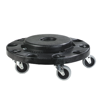 "Carlisle 3691103 Bronco™ Container Dolly, round, 6""H x 17-3/4"" dia., fits 20, 32, 44 & 55 gal containers, polyethylene, black, NSF"